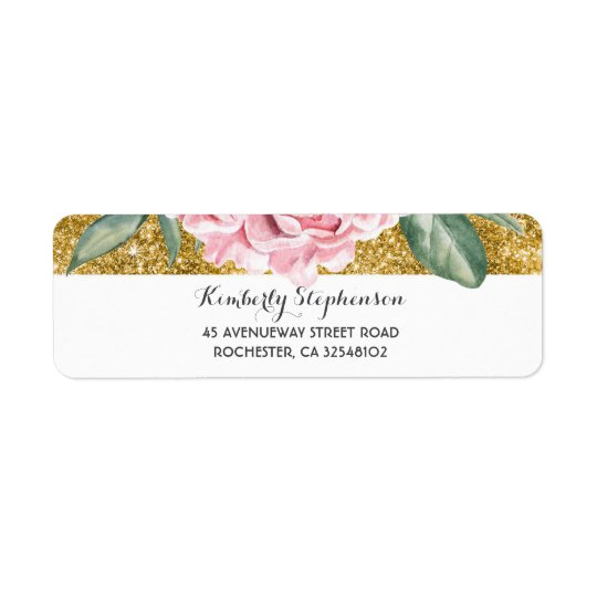Gold and White Vintage Floral Pink Wedding Return Address Label