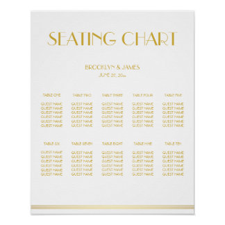 Gold And White Wedding Seating Chart Poster 16x20
