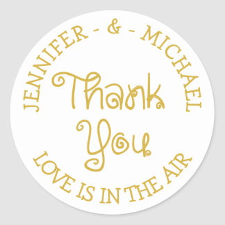 Gold And White Wedding Thank You - Engagement Classic Round Sticker