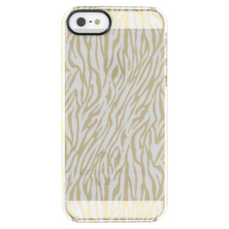 Gold and White Zebra Print Clear iPhone SE/5/5s Case
