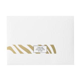 Gold and White Zebra Stripes Pattern Wraparound Address Label