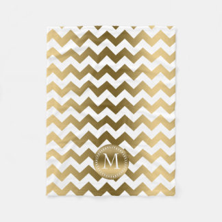 Gold And White Zigzag Chevron Fleece Blanket