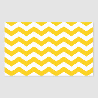 Gold and White Zigzag Rectangular Sticker