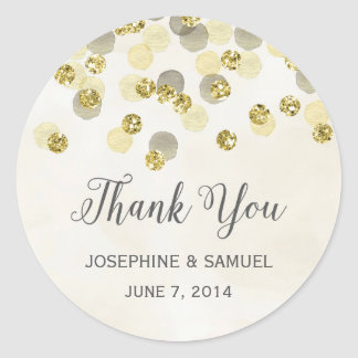 Gold and Yellow Confetti Thank You Round Stickers