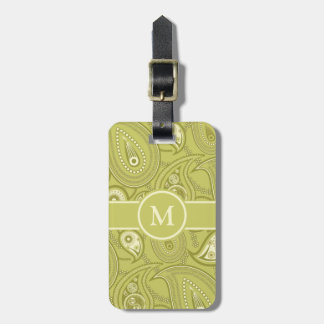 Gold and Yellow Paisley Luggage Tag