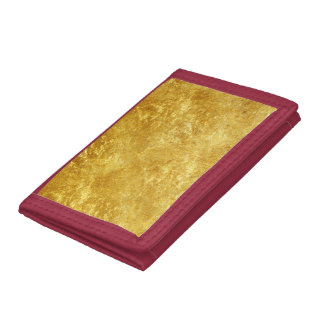 Gold and yellow plated marble pattern tri-fold wallets