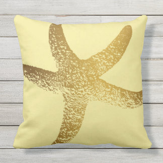Gold and Yellow Starfish Outdoor Throw Pillow
