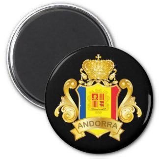 Gold Andorra 6 Cm Round Magnet