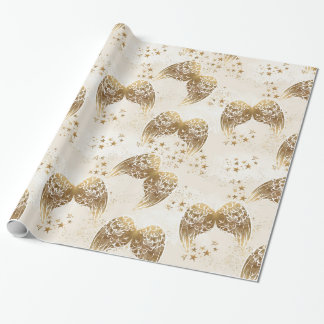 Gold Angel Wings & Stars Gift Wrap Paper