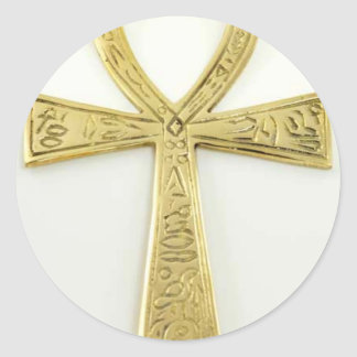 Gold Ankh Classic Round Sticker
