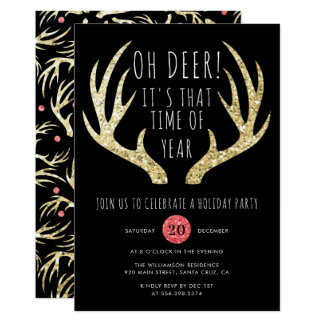 Gold Antlers Christmas Holiday Party Invitation
