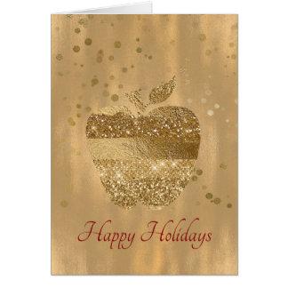 Gold Apple Teacher's Christmas Greeting Card