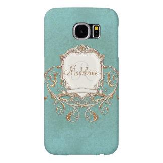 Gold Aqua Baroque Lace Parchment Swirl Customized Samsung Galaxy S6 Cases