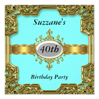 Gold Aqua Birthday Party Glamour Hot Invitation