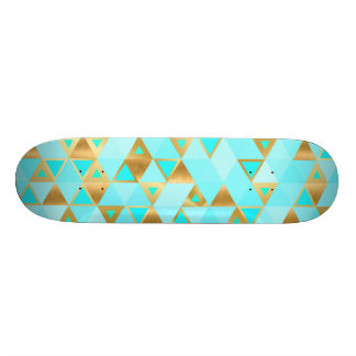 Gold & Aqua Turquoise Diamond Geometric SkateBoard