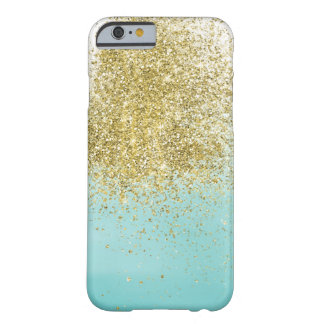 Gold Aqua Watercolor Sparkle Barely There iPhone 6 Case