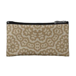 Gold arabian lace flower pattern cosmetic bag