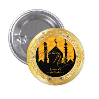 Gold Arabian Nights Party, 1 Inch Round Button