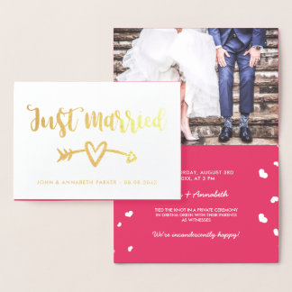 Gold Arrow & Heart Just Married Elopement Foil Card