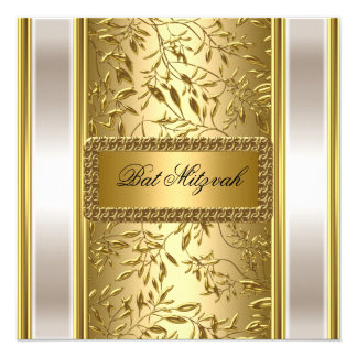 Gold Art Deco Bat Mitzvah  Invitation