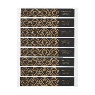 Gold Art Deco Fan Envelope Address Wrap Label