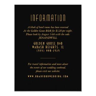 Gold Art Deco Fan Wedding Information Card 11 Cm X 14 Cm Invitation Card