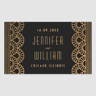 Gold Art Deco Gatsby Style Custom Wedding Sticker Rectangular Sticker