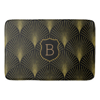 Gold Art-deco Pattern With Monogram Bath Mat