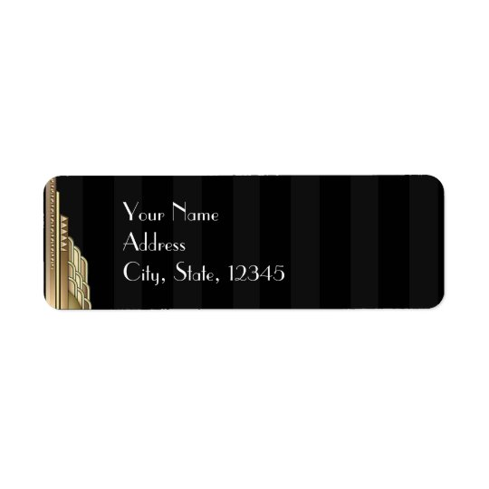 Gold Art Deco Stripe Wedding Label Return Address Label