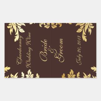 Gold Art Nouveau Wedding Wine Label Sticker Sticker
