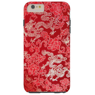 Gold Asian Chinese Imperial Dragon on Red Silk Tough iPhone 6 Plus Case