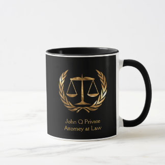 Gold Attorney Scales of Justice Custom Mug