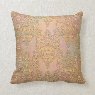 Gold Aurora Fancy Antique Lace Damask Cushion