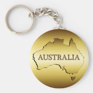 GOLD AUSTRALIA BASIC ROUND BUTTON KEY RING