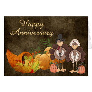 Gold Autumn Cute Turkey Couple Happy Anniversary Card