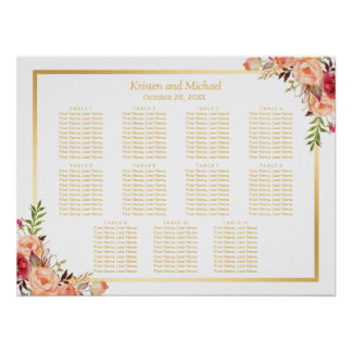 Gold Autumn Flowers Fall Wedding Seating Chart