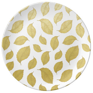 GOLD AUTUMN LEAVES - Porcelain Plate
