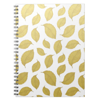 GOLD AUTUMN LEAVES - Spiral Notebook