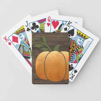 Gold Autumn Rustic Wood Pumpkin Bicycle Playing Cards