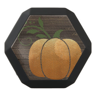 Gold Autumn Rustic Wood Pumpkin Black Bluetooth Speaker
