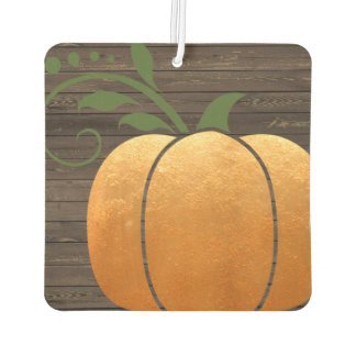 Gold Autumn Rustic Wood Pumpkin Car Air Freshener