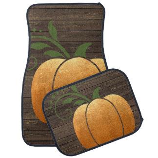 Gold Autumn Rustic Wood Pumpkin Car Mat