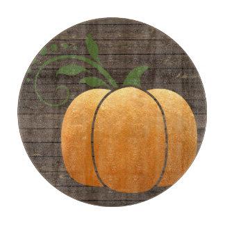 Gold Autumn Rustic Wood Pumpkin Cutting Board