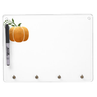 Gold Autumn Rustic Wood Pumpkin Dry Erase Board With Key Ring Holder