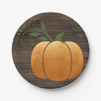 Gold Autumn Rustic Wood Pumpkin Paper Plate