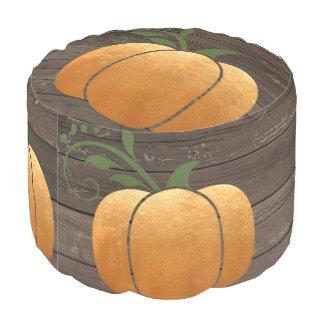 Gold Autumn Rustic Wood Pumpkin Pouf
