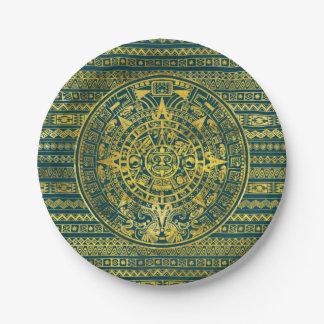 Gold  Aztec Inca Mayan Calendar Paper Plate