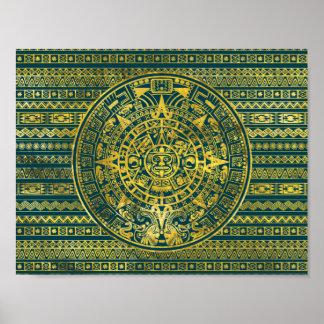 Gold  Aztec Inca Mayan Calendar Poster
