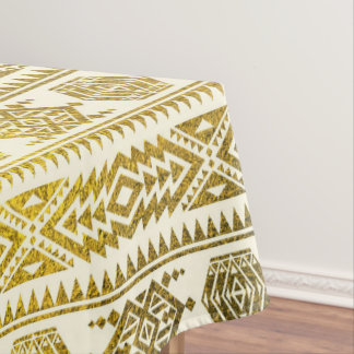 Gold  Aztec Peruvian Tribal Pattern Tablecloth