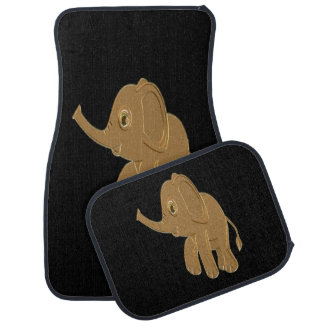 Gold baby elephant looking into the sky car mat